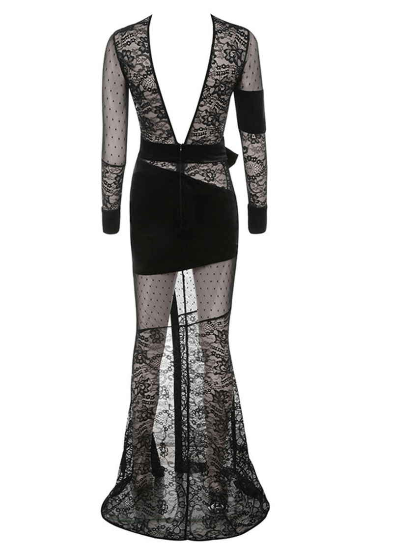 Neva Black Lace Maxi Dress