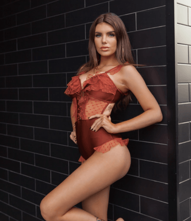 Lauren Rust Lace Detail Swimsuit