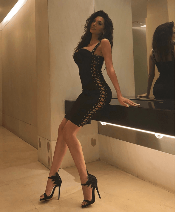 Belinda Black Bandage Lace-Up Midi Dress