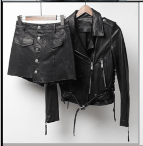 Pershiny Leather Jacket and Skirt Two Piece Set Black