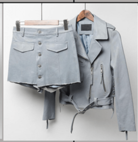 Pina Grey Leather Two Piece Set