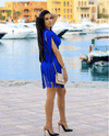 Sapphire Blue Fringe Mini Dress