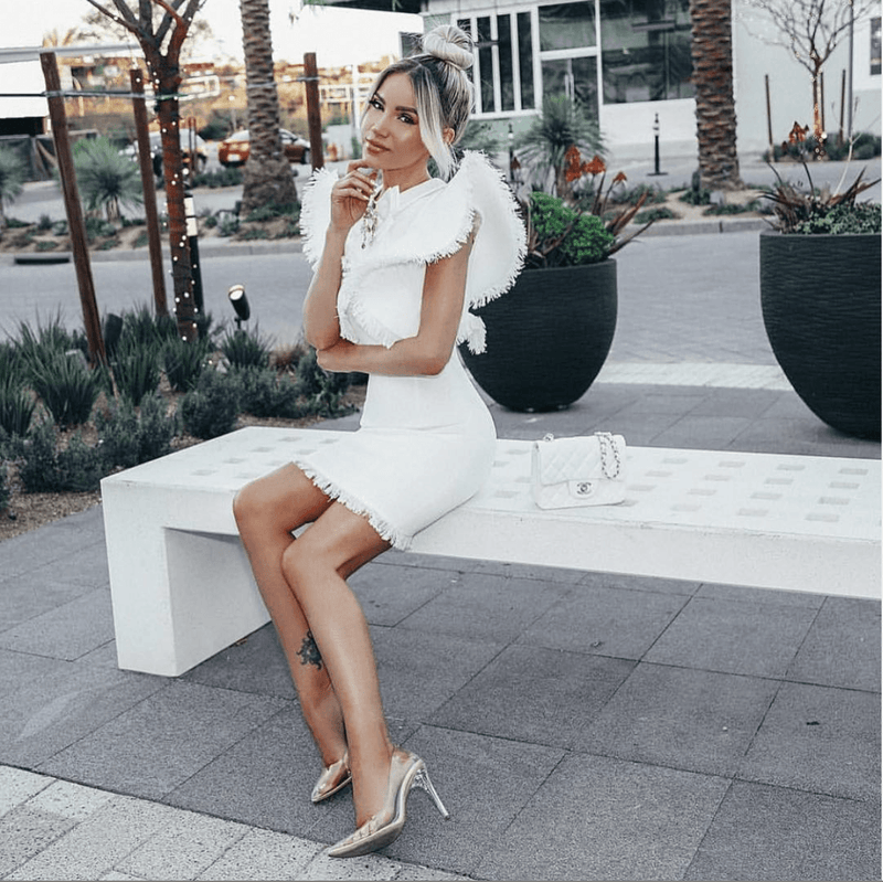 Mandi White Tweed Mini Dress