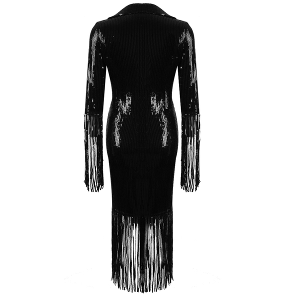 Estefan Black Sequin Midi Wrap Dress