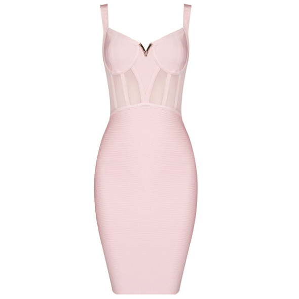 Chloe Pink Bandage Midi Dress