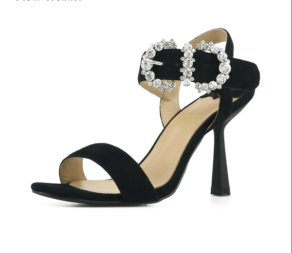 Cindy Black Suede Kitten Sandals