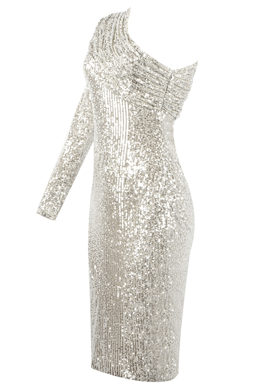 Kristi Silver Sequin Dress