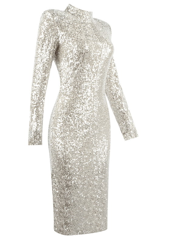Luanne Silver Sequin Midi Dress