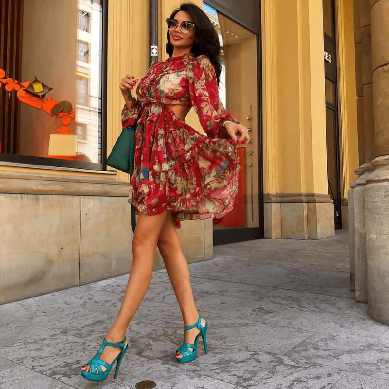 Shanda Red Floral Mini Ruffle Dress