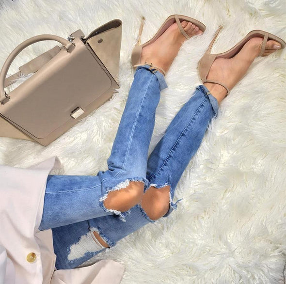 Sky Nude Leather Sandals