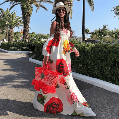 Vee White Floral Maxi Dress