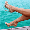 Leesi Gold Lace Up Sandals