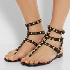 Daniella Black Flat Open Sandals