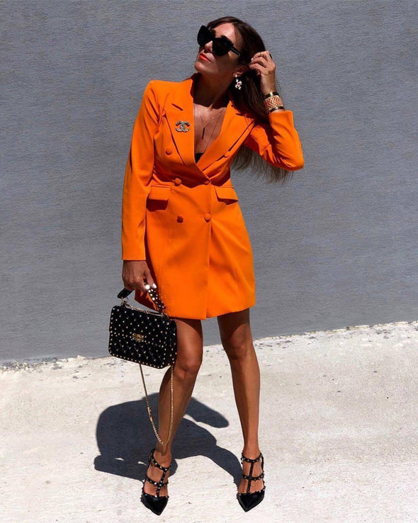 Betty Orange Mini Blazer Dress