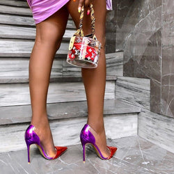 Leesh Purple & Red Patent Leather Pumps