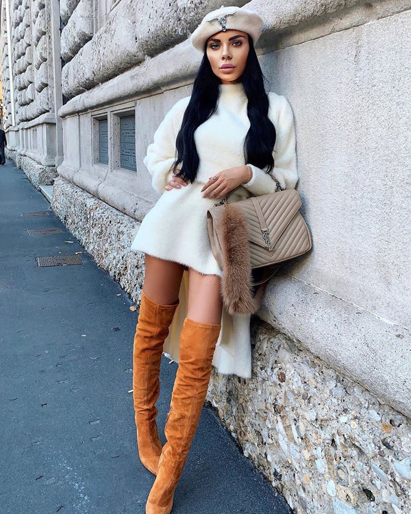 Gianna Tan Suede Leather Boots