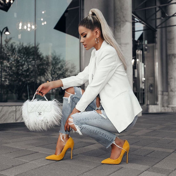 Leah Yellow  Suede Pumps
