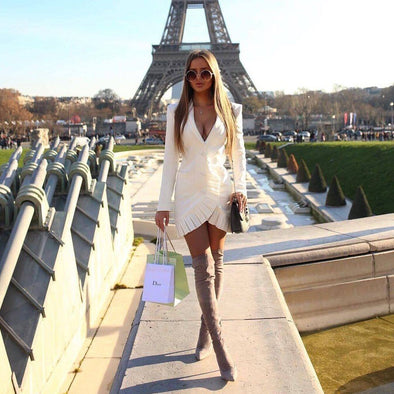 Winter White Blazer Dress