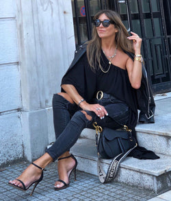 Sky Black Leather Sandals