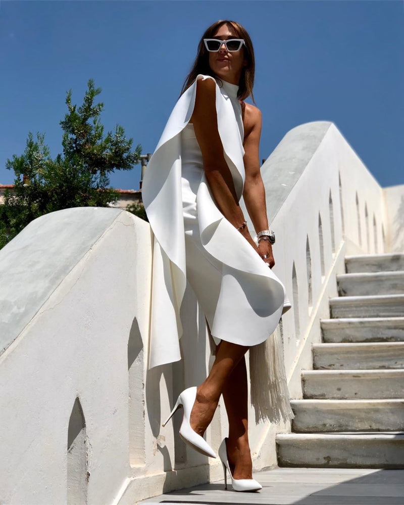 Dory White Bandage Detail Midi Dress