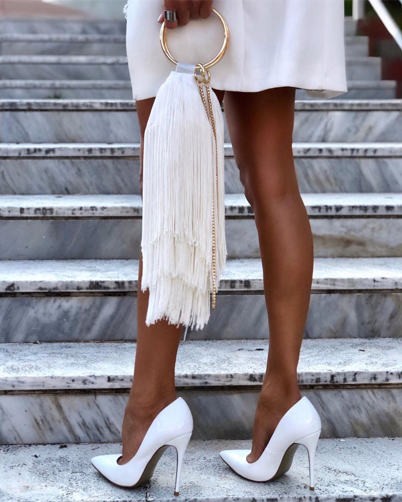 Leah White Patent Leather Pumps