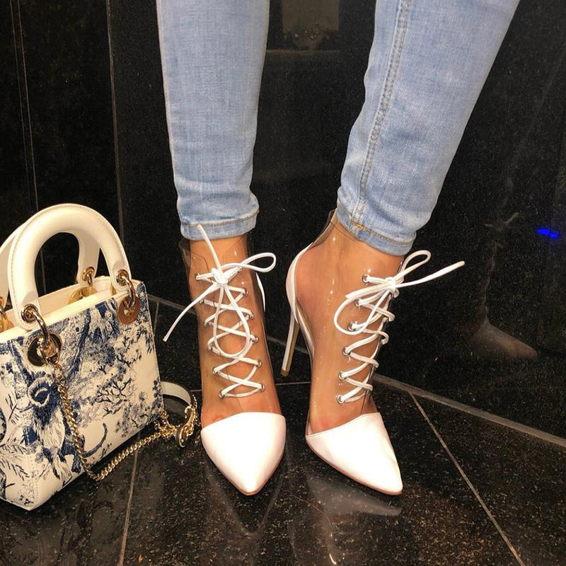 Catelyn White Leather Booties