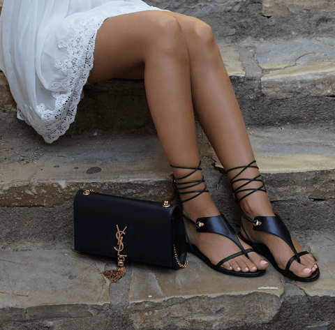 Adeline Black Leather Sandals