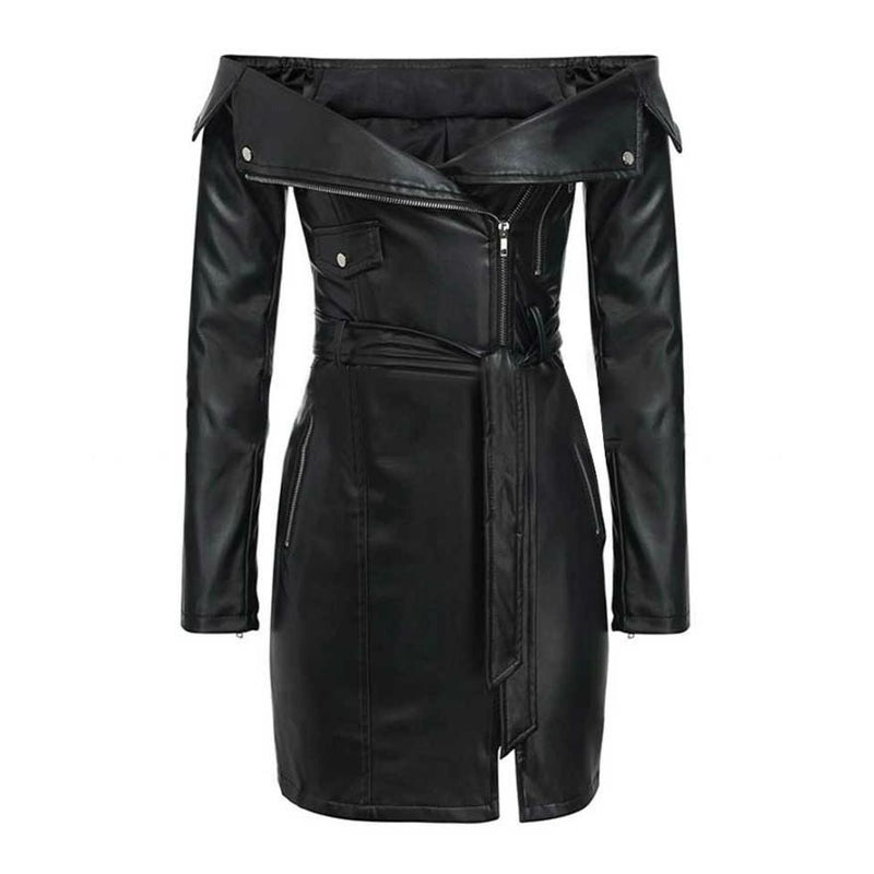 Mayhem Black Leather Midi Dress