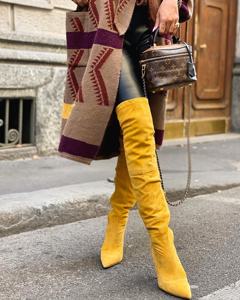Gianna Yellow Suede Boots – Catwalk