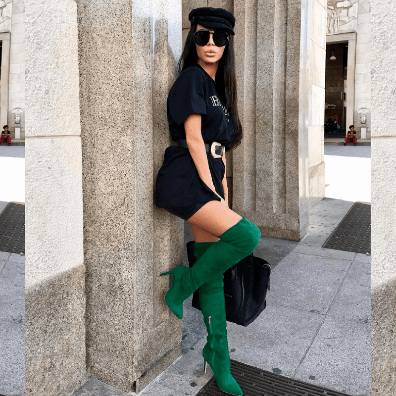 Gianna Green Suede Boots