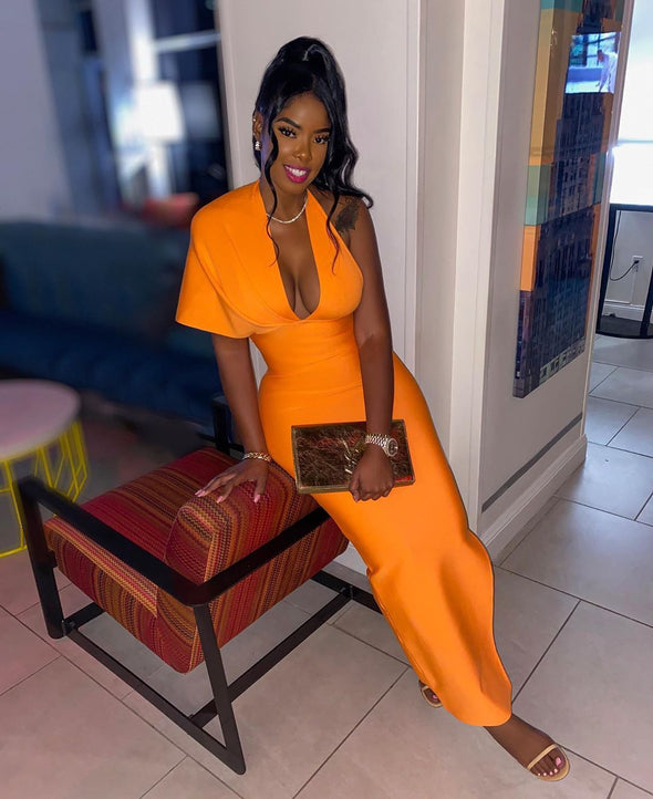 Lucia Orange Bandage Maxi Dress