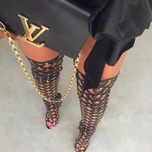 Kimberly Studded Black Thigh-High Sandals
