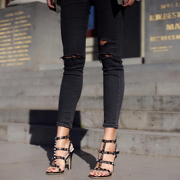 Daniella Black Leather Sandals
