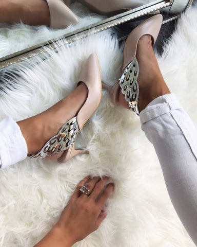 Angelique Nude Silver Wing Pumps