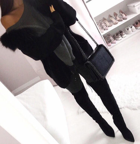Jasmin Black Suede Leather Boots