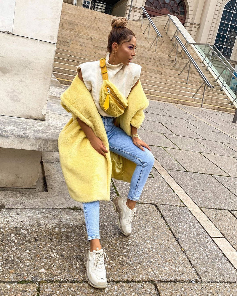 Jasmine Yellow Faux Fur Coat