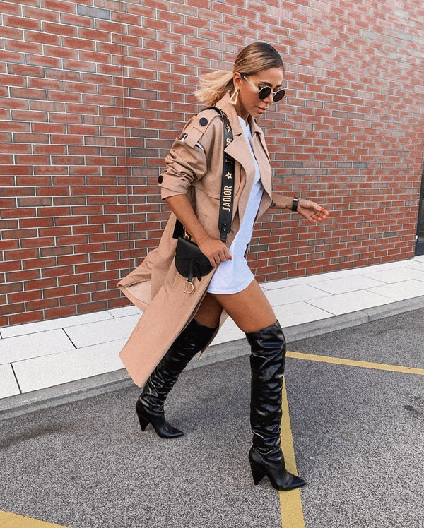 Penelope Black Thigh High Boots