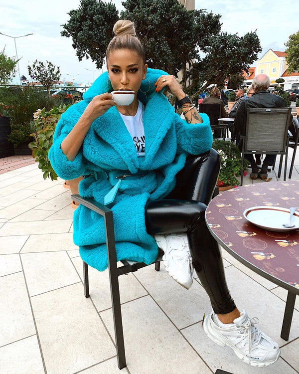 Jasmine Turquoise Faux Fur Coat - LIMITED STOCK