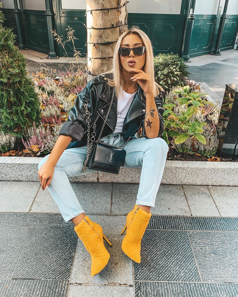 Trisha Yellow Shearling Boots