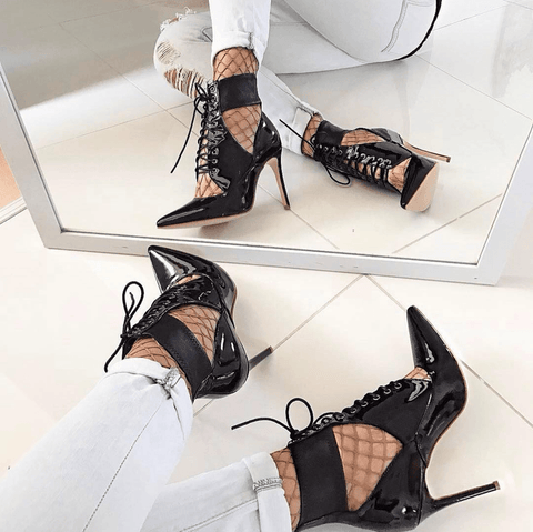 Anna Black Patent Heel Booties