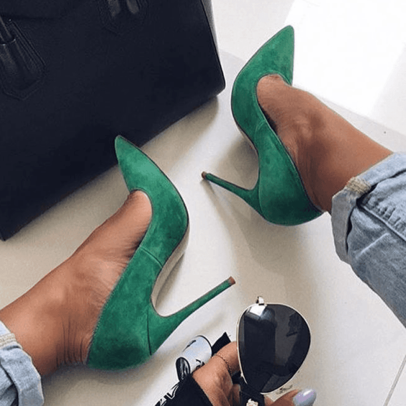 Leah Green Suede Leather Pumps