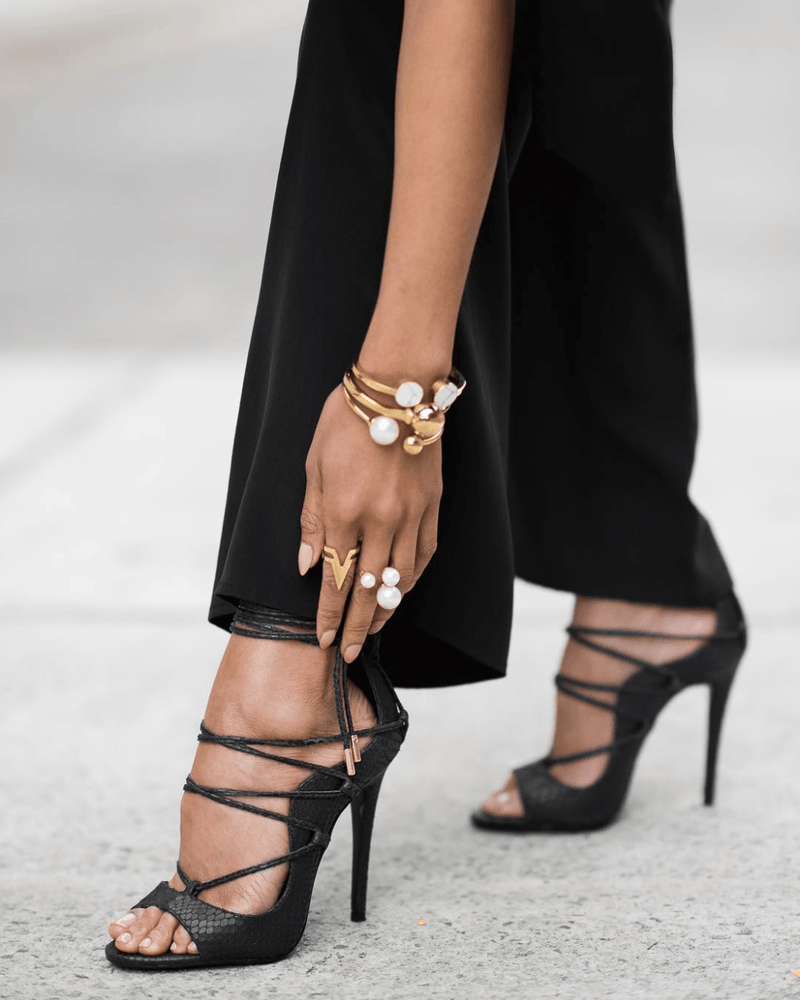 Leesi Black Lace Up Sandals