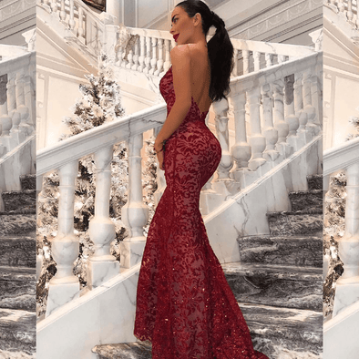 Lemy Red Glitter Maxi Dress