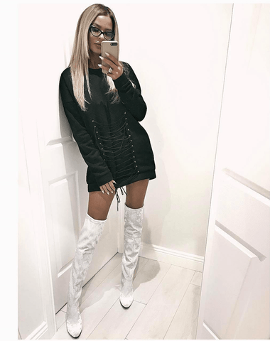 Jorja White Crushed Velvet  Boots