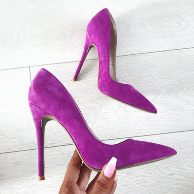 Leah Purple Suede Leather Pumps