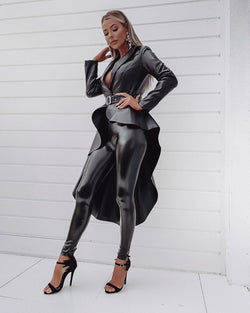 Karla Faux Leather Belted Jacket
