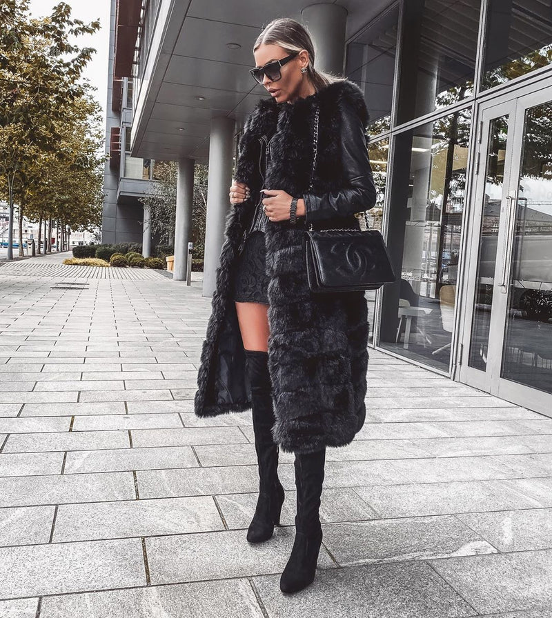 Nadia Black Faux Fur Gilet