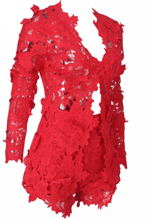 Pacey Red Lace Two Piece Set