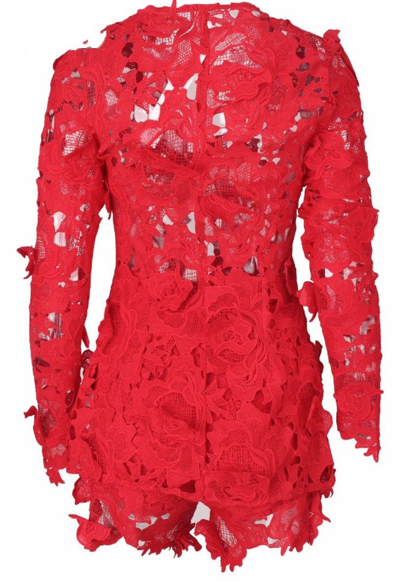 Pacey Red Lace Two Piece