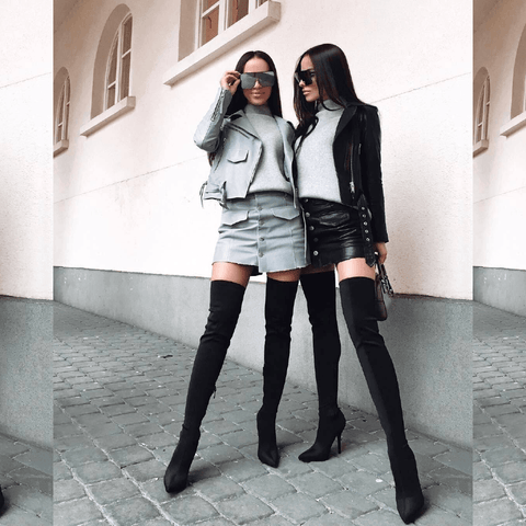 Pershiny Leather Jacket and Skirt Two Piece Set Grey